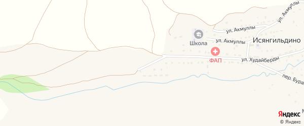 Улица Шайхзады Бабича на карте деревни Исянгильдино с номерами домов