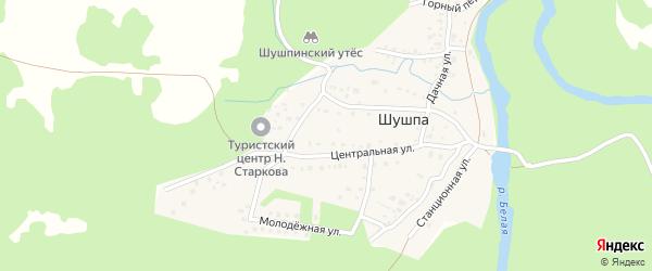 Центральная улица на карте деревни Шушпы с номерами домов