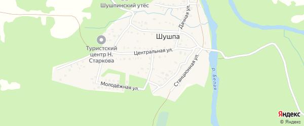 Лесной переулок на карте деревни Шушпы с номерами домов