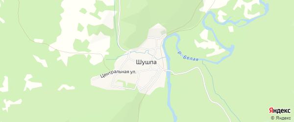 Карта деревни Шушпы в Башкортостане с улицами и номерами домов