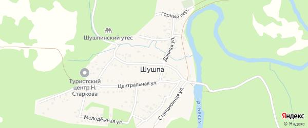 Переулок Туристов на карте деревни Шушпы с номерами домов