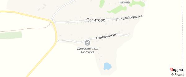 Подгорная улица на карте деревни Сагитово с номерами домов