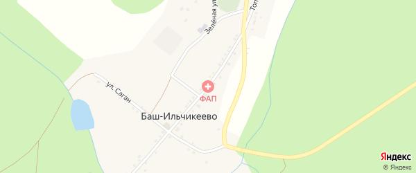 Улица С.Юлаева на карте деревни Баш-Ильчикеево с номерами домов