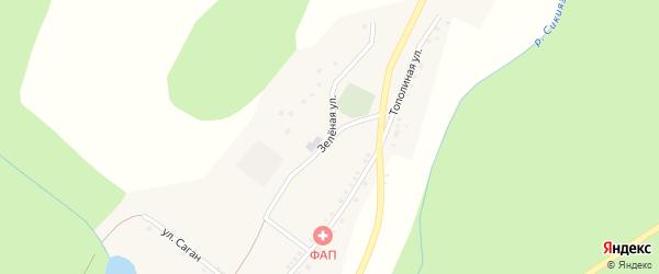 Зеленая улица на карте деревни Баш-Ильчикеево с номерами домов