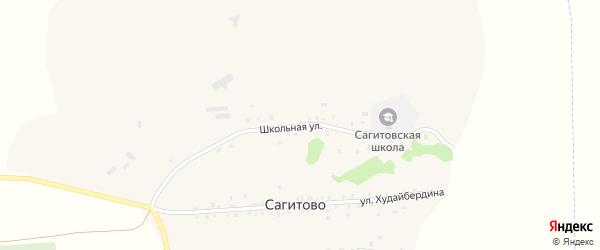 Школьная улица на карте деревни Сагитово с номерами домов