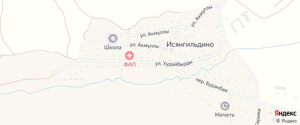 Улица Худайберды на карте деревни Исянгильдино с номерами домов
