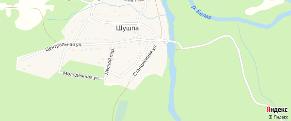 Станционная улица на карте деревни Шушпы с номерами домов