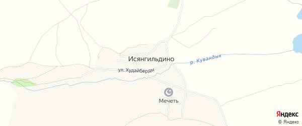 Карта деревни Исянгильдино в Башкортостане с улицами и номерами домов