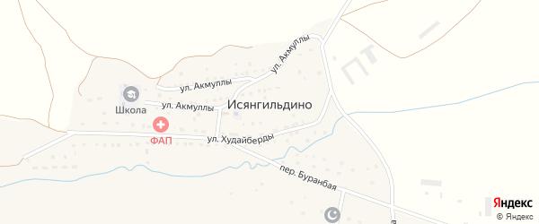 Улица Мифтахетдина Акмуллы на карте деревни Исянгильдино с номерами домов