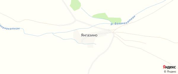 Карта деревни Янгазино в Башкортостане с улицами и номерами домов