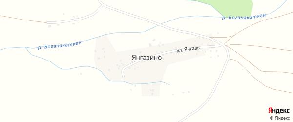 Улица З.Валиди на карте деревни Янгазино с номерами домов