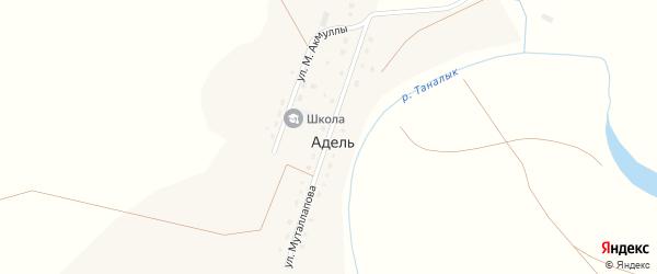 Улица Муталлапова на карте деревни Адели с номерами домов