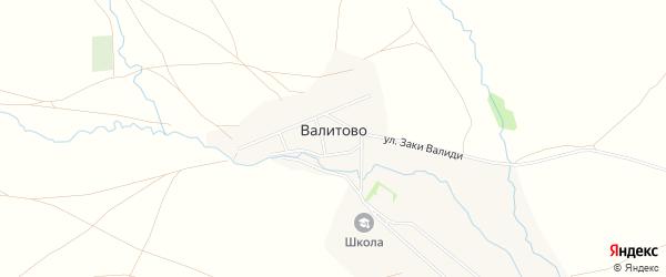 Карта деревни Валитово в Башкортостане с улицами и номерами домов