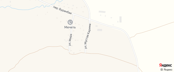 Улица Мустая Карима на карте деревни Исянгильдино с номерами домов