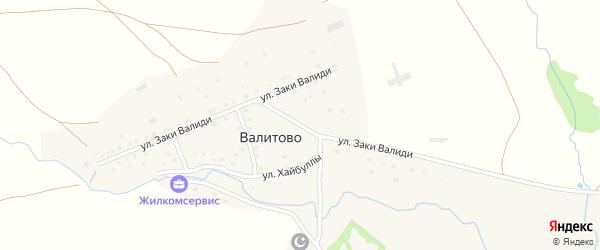 Улица Заки Валиди на карте деревни Валитово с номерами домов