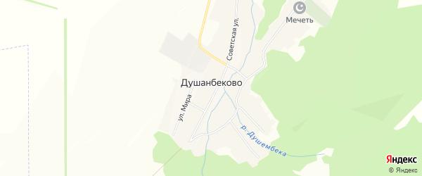 Карта села Душанбеково в Башкортостане с улицами и номерами домов