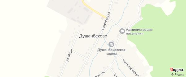 Нагорная 1-я улица на карте села Душанбеково с номерами домов