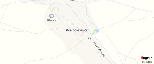 Карта деревни Комсомольска в Башкортостане с улицами и номерами домов