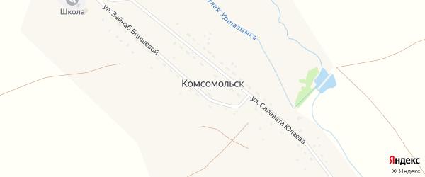 Переулок Буранбая на карте деревни Комсомольска с номерами домов