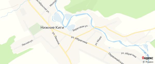 Карта села Нижние Киги в Башкортостане с улицами и номерами домов