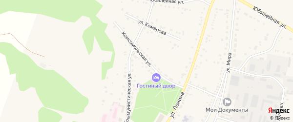 Комсомольская улица на карте села Аскарово с номерами домов