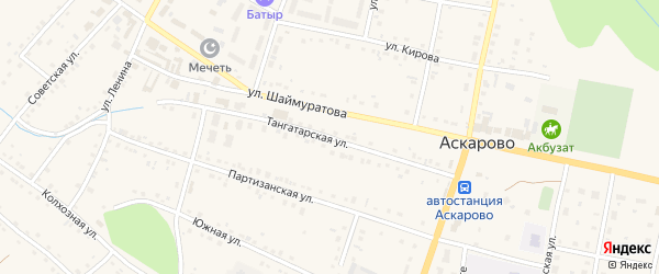Тангатарская улица на карте села Аскарово с номерами домов