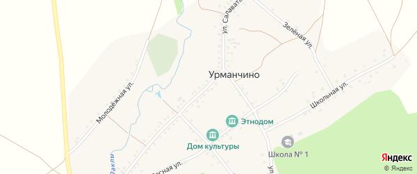 Улица Салавата на карте деревни Урманчино с номерами домов