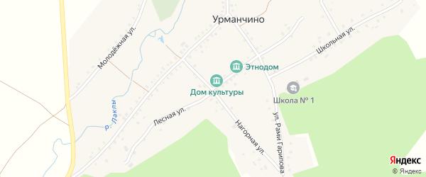 Лесная улица на карте деревни Урманчино с номерами домов