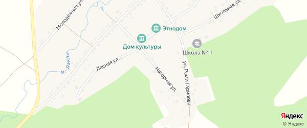 Нагорная улица на карте деревни Урманчино с номерами домов