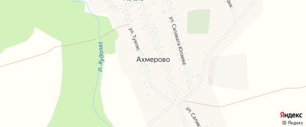 Улица З.Валиди на карте деревни Ахмерово с номерами домов