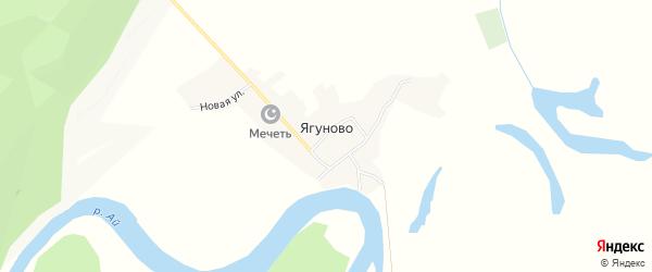 Карта деревни Ягуново в Башкортостане с улицами и номерами домов
