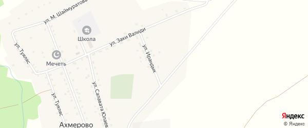 Улица Ирандык на карте деревни Ахмерово с номерами домов
