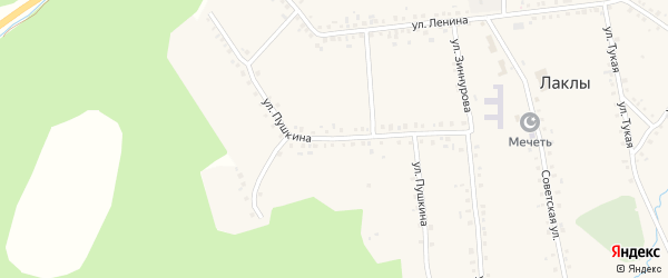 Улица Пушкина на карте села Лаклы с номерами домов