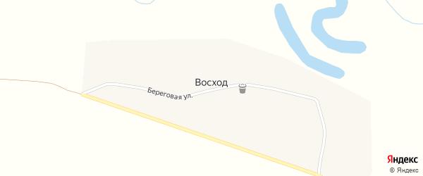 Береговая улица на карте деревни Восхода с номерами домов