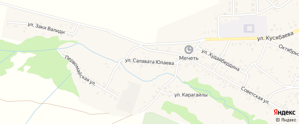 Улица С.Юлаева на карте села Старого Сибая с номерами домов