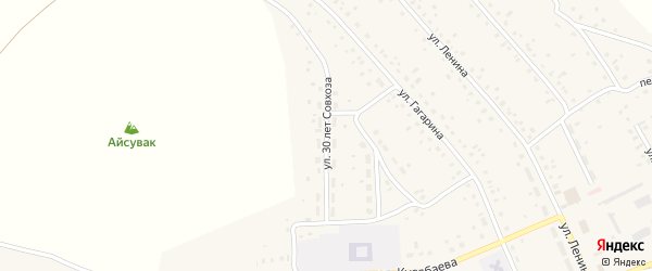 Улица 30 лет Совхоза на карте села Старого Сибая с номерами домов