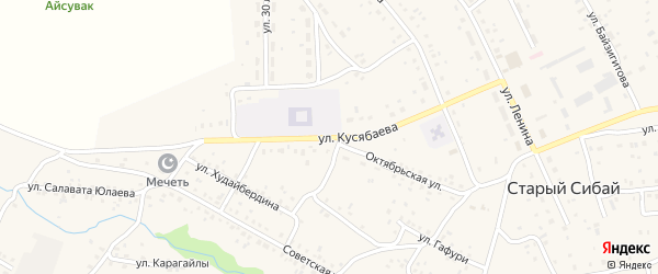 Улица Кусябаева на карте села Старого Сибая с номерами домов
