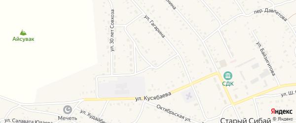 Улица Айсувакова на карте села Старого Сибая с номерами домов