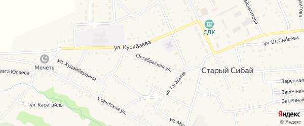 Октябрьская улица на карте села Старого Сибая с номерами домов