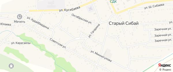 Улица Гафури на карте села Старого Сибая с номерами домов