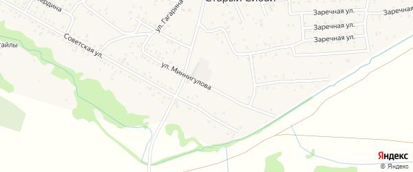 Улица Миннигулова на карте села Старого Сибая с номерами домов