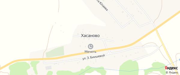 Улица С.Юлаева на карте деревни Хасаново с номерами домов