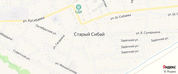 Улица Б.Абдуллина на карте села Старого Сибая с номерами домов
