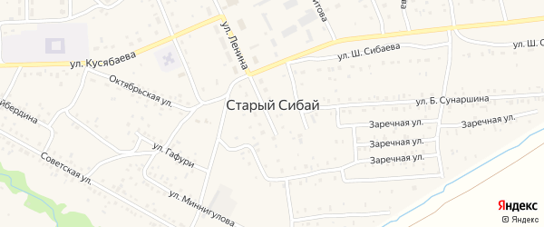 Улица Х.Хамитова на карте села Старого Сибая с номерами домов