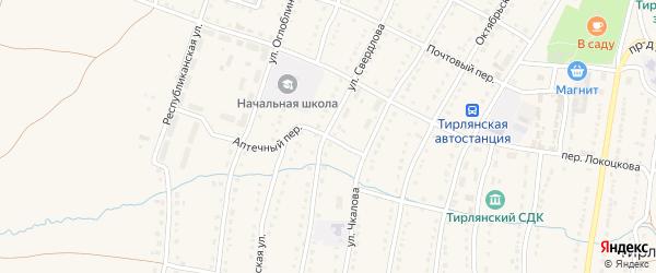 Аптечный переулок на карте села Тирлянского с номерами домов