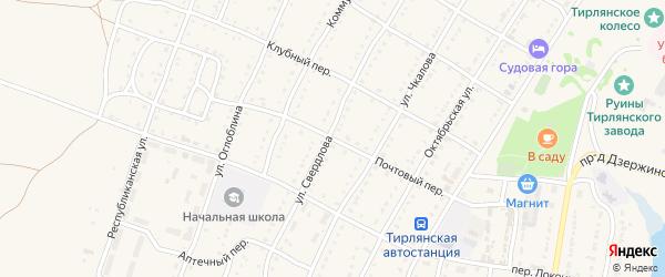 Почтовый переулок на карте села Тирлянского с номерами домов