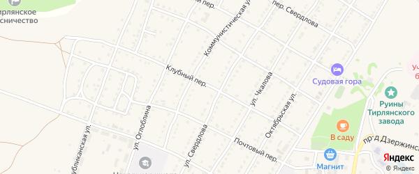 Клубный переулок на карте села Тирлянского с номерами домов