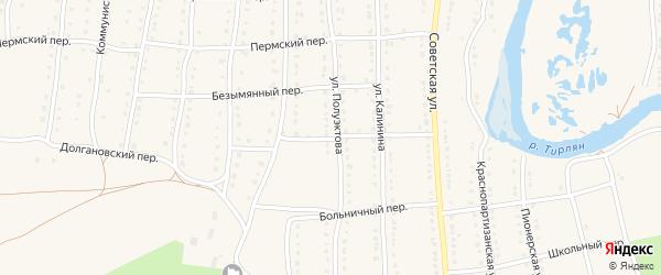 Долгановский переулок на карте села Тирлянского с номерами домов