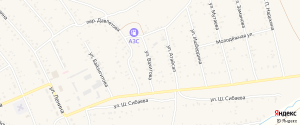 Улица Вахитова на карте села Старого Сибая с номерами домов