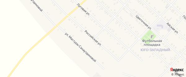 Российская улица на карте села Верхние Киги с номерами домов